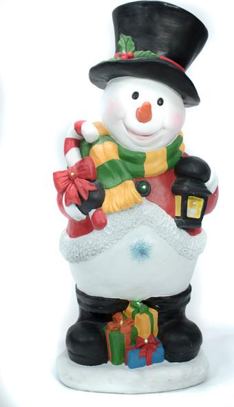 "Snowman Statue w/ Lantern, Presents, etc. - Lit w/ multi-colored lights, 35.4"""
