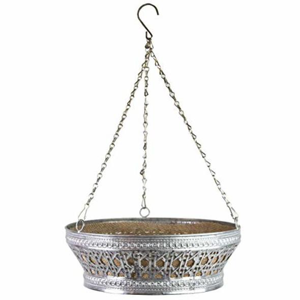 "Gardener Select LWN16400 Galvanized Hanging Basket w/ burlap liner, 13"""