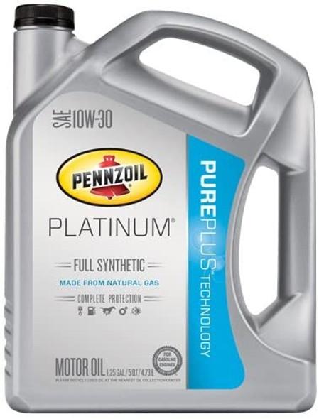 Pennzoil 550046205 Platinum Full Synthetic 10W-30 Oil PurePlus Technology, 5 qt