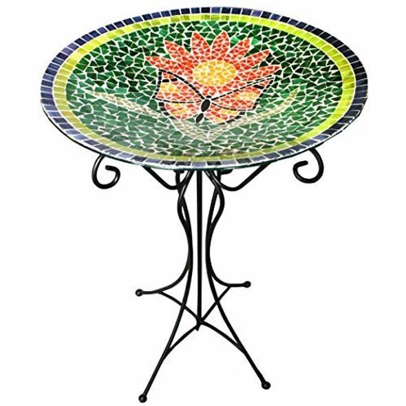 Gardener's Select (GSA14BFG01B) Mosaic Glass Bird Bath and Stand
