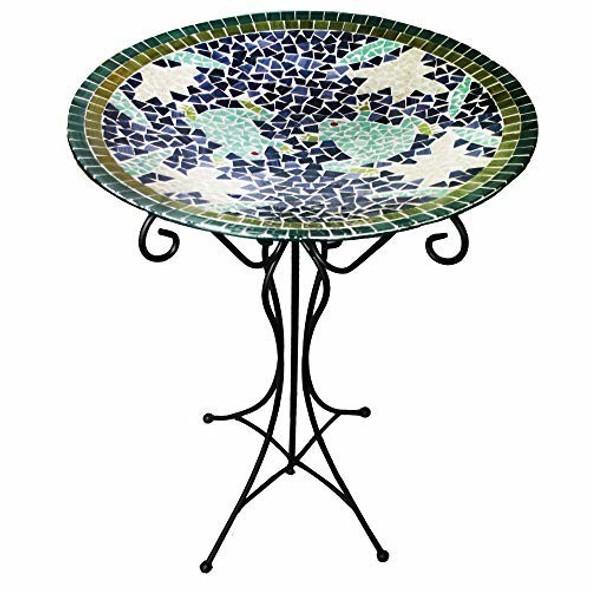 Gardener's Select GSA14BFG01D Mosaic Frogs Glass Bird Bath and Stand