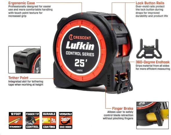 Crescent Lufkin 1-3/16 x 25' Command Control Series Tape Measure - L1025CB