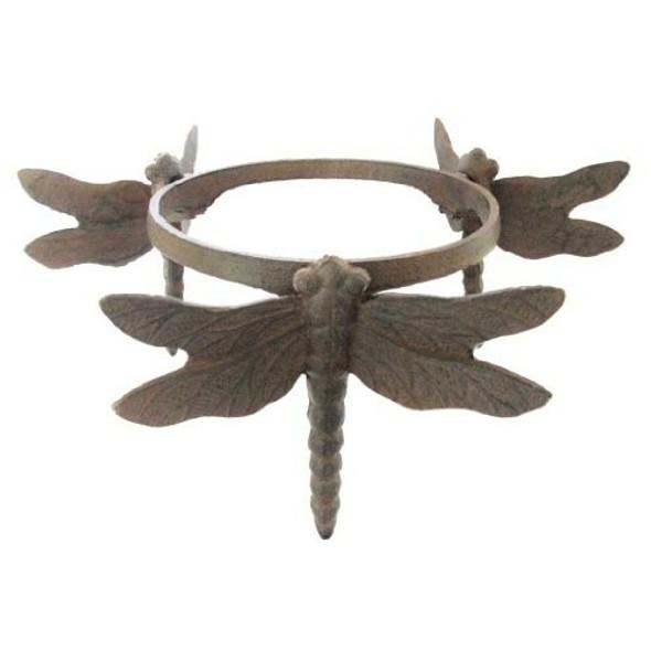 "VCS WIDGPS Wrought Iron Dragonfly Globe Stand, 8.8"" diameter, 6"" height"