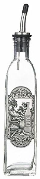 Ganz BC0439 Wine & Cheese Cruet OIL BOTTLE, 10 oz, clear w/ pewter decor