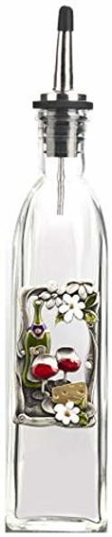 Ganz ER12140 Glass Cruet Bottle, Wine/Cheese Floral, Clear 10 ounce