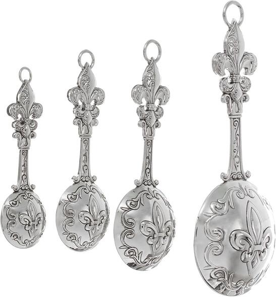 Ganz ER21857 4-Piece Set, Fleur De Lis Measuring Spoon Set, Silver