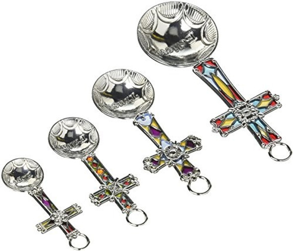 Ganz ER48884 4-Piece Set Cross Silver-Tone Zinc Alloy Measuring Spoons