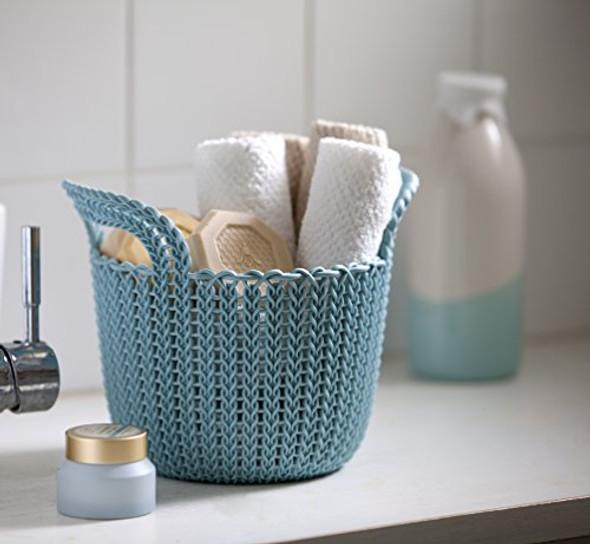 KETER 231981 Knit Round X-Small 3-Piece Basket Set, Extra, Misty Blue