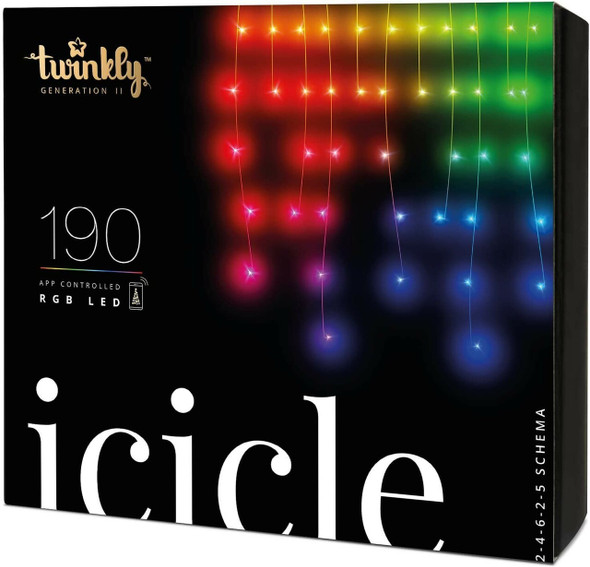 Twinkly App Control Icicle Light With 190 Multicolor RGB LED Lights