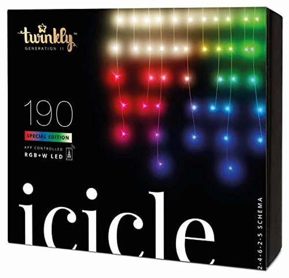 Twinkly App Control Icicle Light With 190 Multicolor RGB+W LED Lights