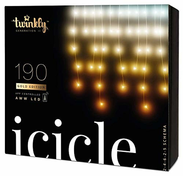 Twinkly App Control Icicle Light With 190 Multicolor AWW LED Lights