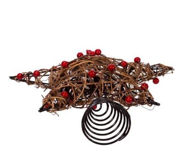 """Kurt S. Adler (#H4201) Natural Brown Star With Berries Treetop, 12"""""""