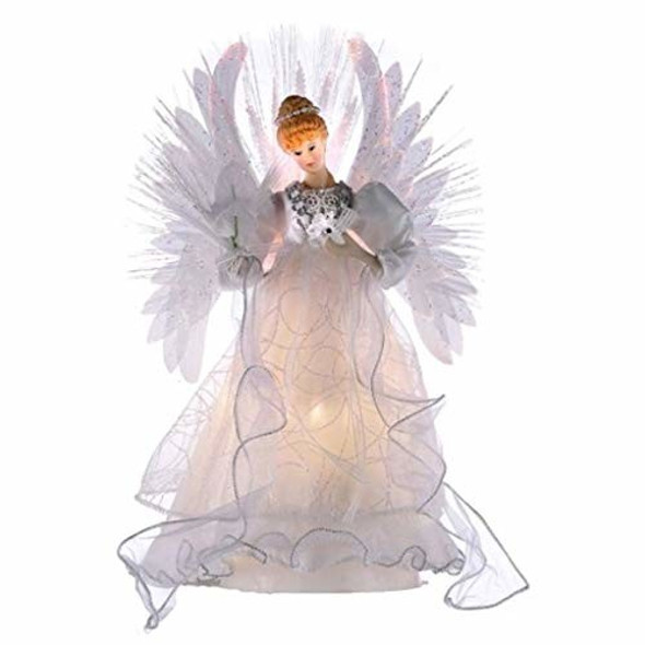 "Kurt Adler (UL2192LED)  Multi Color Fiber Optic LED Angel Christmas Treetop, 14"""