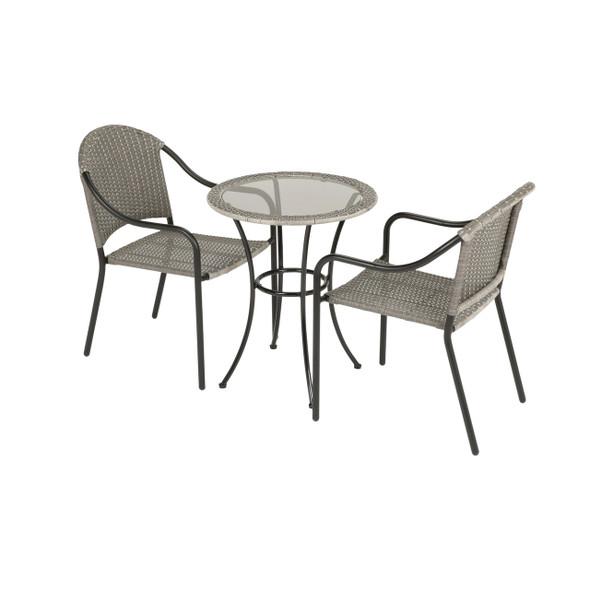Four Seasons Courtyard Marbella Wicker Gray Bistro Seating Set