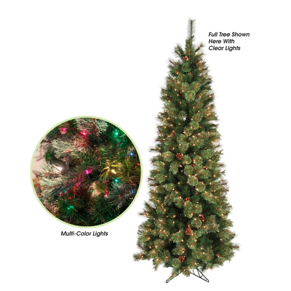 Garden Elements Artificial Pencil Fir Christmas Tree With Pine Cones, Multi-colored, 7.5 Ft