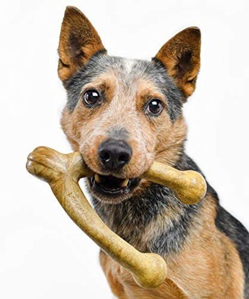 Pet Qwerks (#WPB1) Wish BarkBone - For Aggressive Chewers, Peanut Butter, Size L