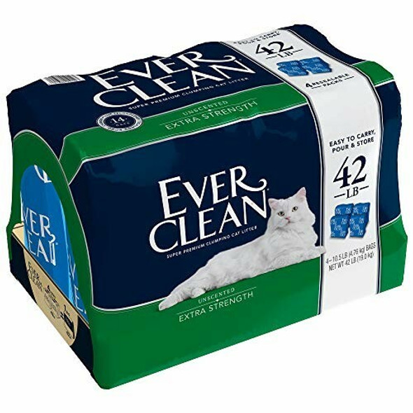 Ever Clean (#01012) Extra Strength Cat Litter, Unscented, 10.5 LB-Pack of 4