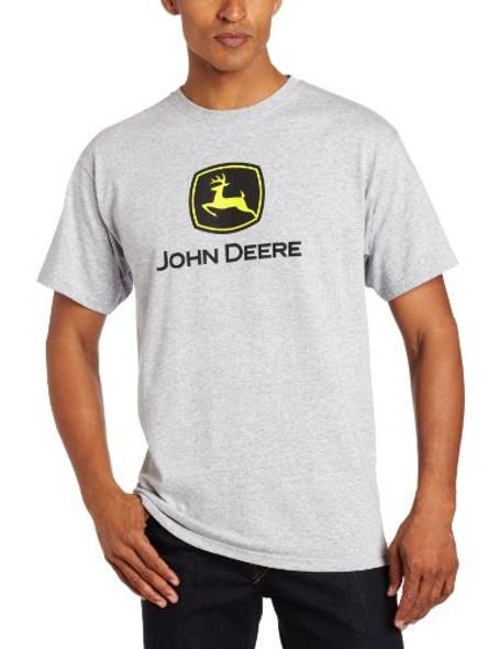 John Deere Men's Grey Construction Logo Short Sleeve Tee, Medium