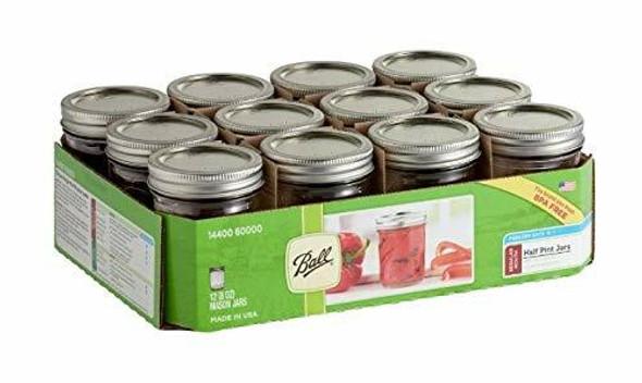 Ball (#60000ZFP) Half-Pint Regular Mouth Glass Canning Jars (Pack of 12)