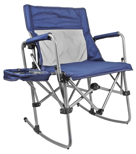 Zenithen Limited Navy/Grey Rocking Director Folding Chair with Side Table