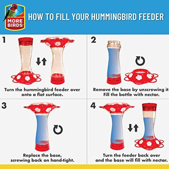 More Birds Ruby Hummingbird Feeder, Glass Bottle