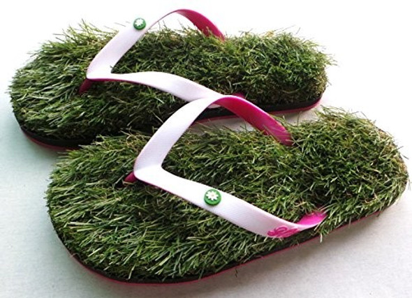GFF Grass Flip Flops, White and Pink, Small