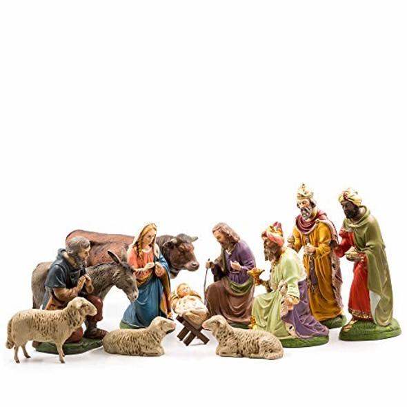 MAROLIN (#1511_80) Nativity Set, 12 pcs, to 4.5 in. Figures with Infant Jesus