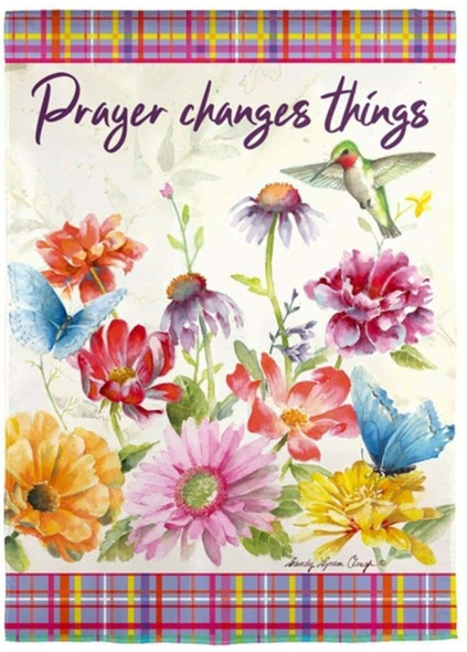 """Evergreen (#14S9805) Outdoor Flag, """"Prayer Changes Things"""", 12.5 x 18"""""""