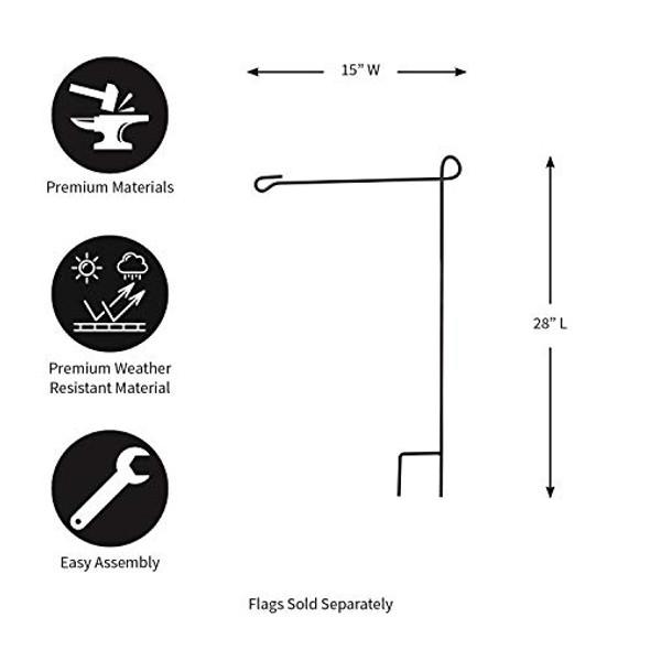 "Evergreen Flag Large Black Iron Flag Stand - 40"" W x 89"" H"