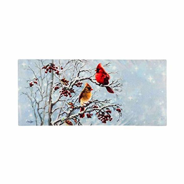 Evergreen Flag (#431721) Christmas Winter Cardinals Sassafras Switch Doormat