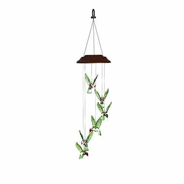 Evergreen Garden All-Weather Painted Hummingbird Solar Mobile Beautiful Decor