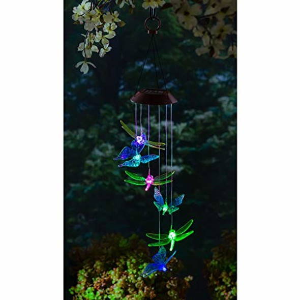 Evergreen Garden Dragonfly and Butterfly Color Changing Solar Mobile