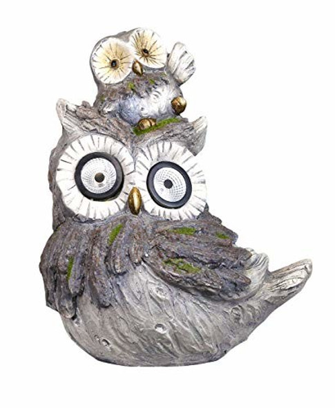 """Alpine Corp Solar Owls White LED Changing Eyes Statue, 15"""" (#QWR860SLR)"""