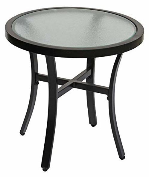 """Garden Elements Bellevue 20"""" Round Glass Top Table"""