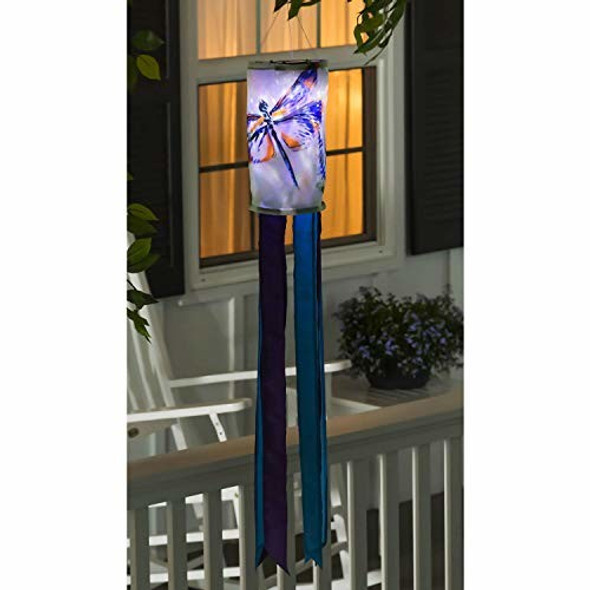 Evergreen Flag Painted Dragonflies Solar Motion Windsock - 6 x 6 x 48 Inches