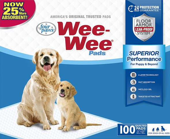 """Four Paws (#100513820) Disposable Wee Wee® Pee Pads, 22.5"""" x 23"""", 100 count"""