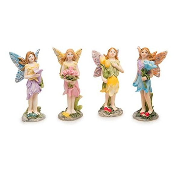 "Darice Flower Fairy Figurines for Fairy Gardens, Qty 4, Assorted 1.5"" x 3.5"""