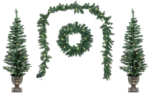 Good Tidings Classic Holiday Four Piece Porch Set Christmas Decoration- Lit Wreath, Garland, 2 Trees