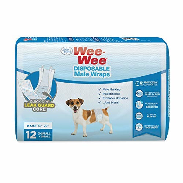 Four Paws Wee-Wee Disposable Male Dog Wraps