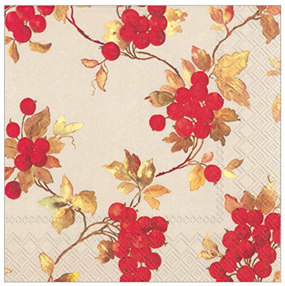 Ideal Home Range 3-Ply Paper Beverage/Cocktail Napkins, 20-Count, 5 x 5-Inches Folded, Red Berries Linen