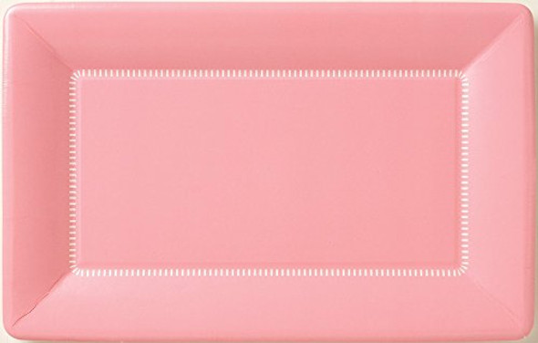 Boston International IHR Zing Rectangular Caf? Dessert Paper Plates, 9 x 5.5-Inches, Soft Pink