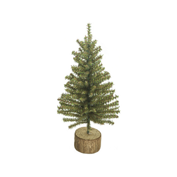 """Good Tidings 12"""" Tall Tabletop Tree With Wood Base, 152 Tips"""