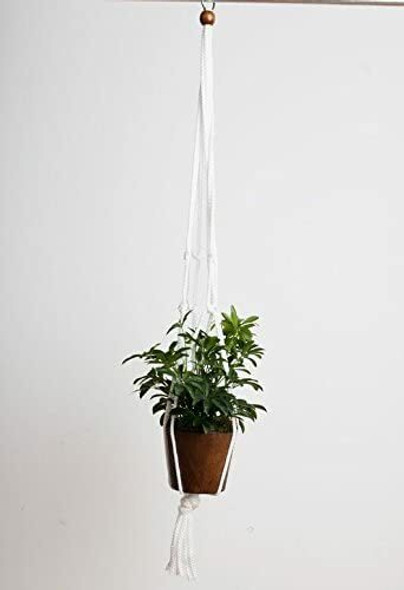 "Primitive Planters 36"" White Macrame Plant Hanger"