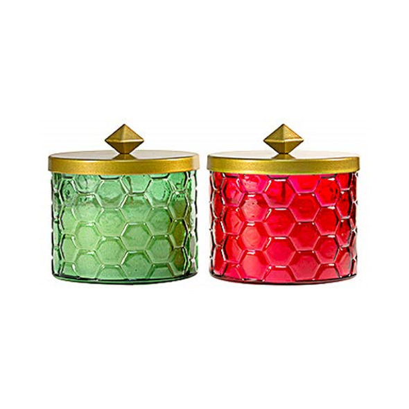 Tiki Lamplight Farms 1418055 Honeycomb Citronella Wax Candle, Red or Green Glass, 9-oz. - Quantity 1