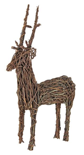 Garden Elements Rustic Grapevine Standing Deer, 24x8x36