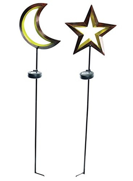 Alpine™ Solaris® Solar Moon & Star Stakes with LED Light (Set of 2)