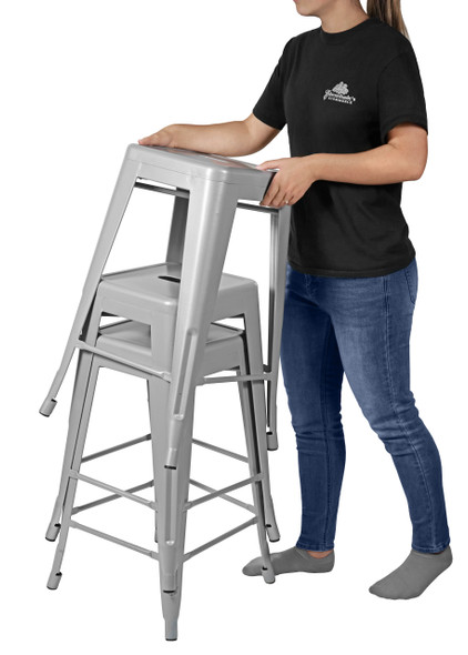 """Sunjoy Group (#S-DNC1267PST) Stackable Metal Barstool, Silver, 26"""", Pack of 2"""