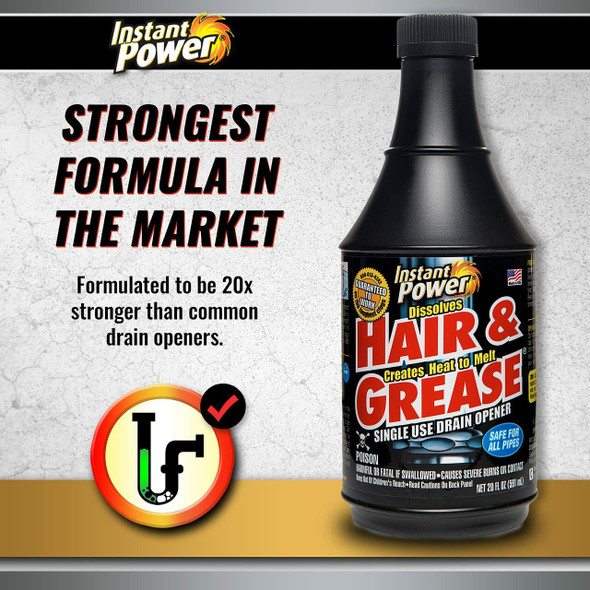 Instant Power Hair and Grease Drain Opener - 20 oz.