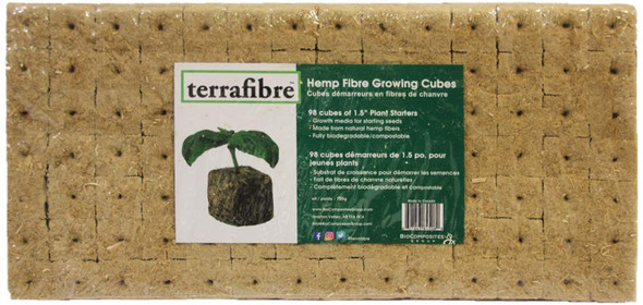 terrafibre Hemp Fibre Growing Cubes, 1.5 inch Cubes (Pack of 98)