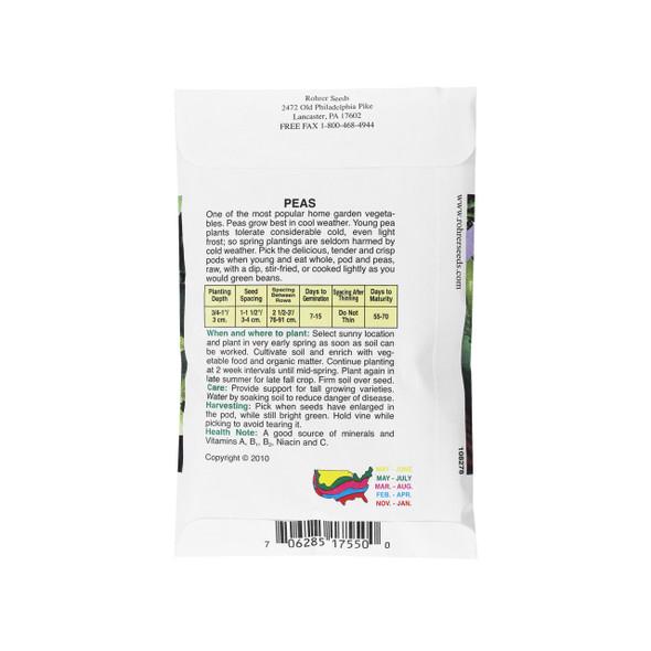 Rohrer Seeds Sugar Snap Peas, Sugar Sprint (Stringless), 2 Ounces